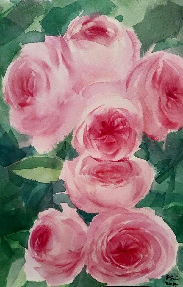 English Roses Watercolor By Noot With Images Flower Painting