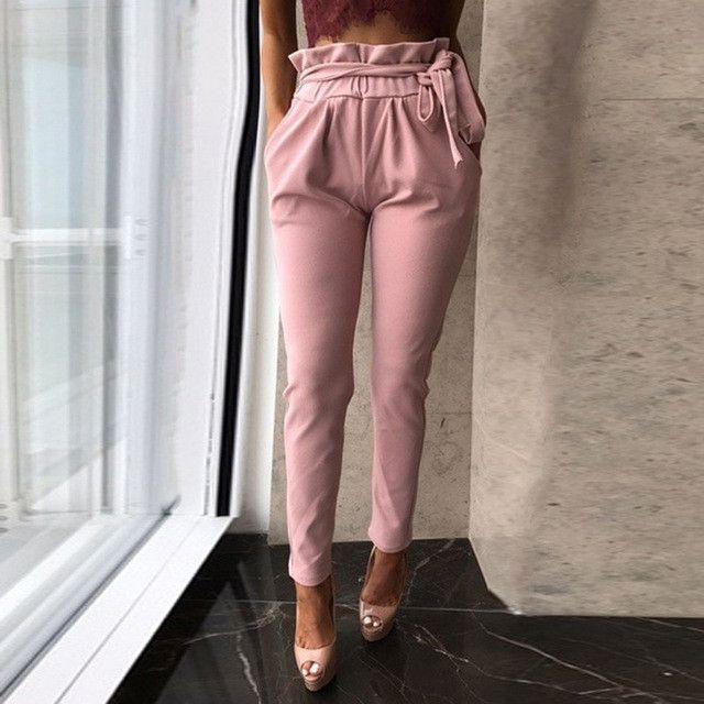 a1685928618a2 Trendy Womens Trousers 2017 Spring Summer Fashion Pleated Stretch Elastic  Waist Long Pants High Waist Harem Pants 7 Colors
