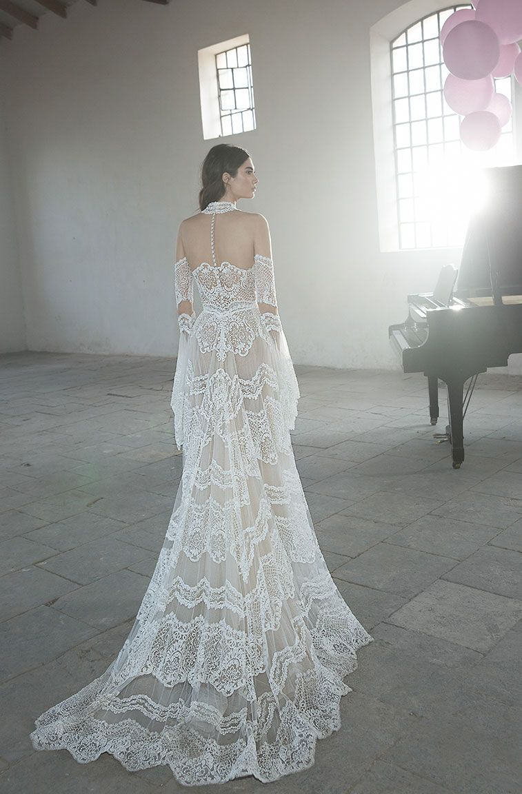 High neck illusion boho wedding gown with long bell sleeves and long
