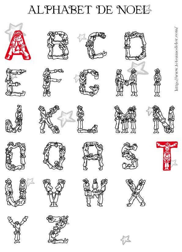 Alphabet de no l colorier lettres p re no l - Alphabet de noel ...