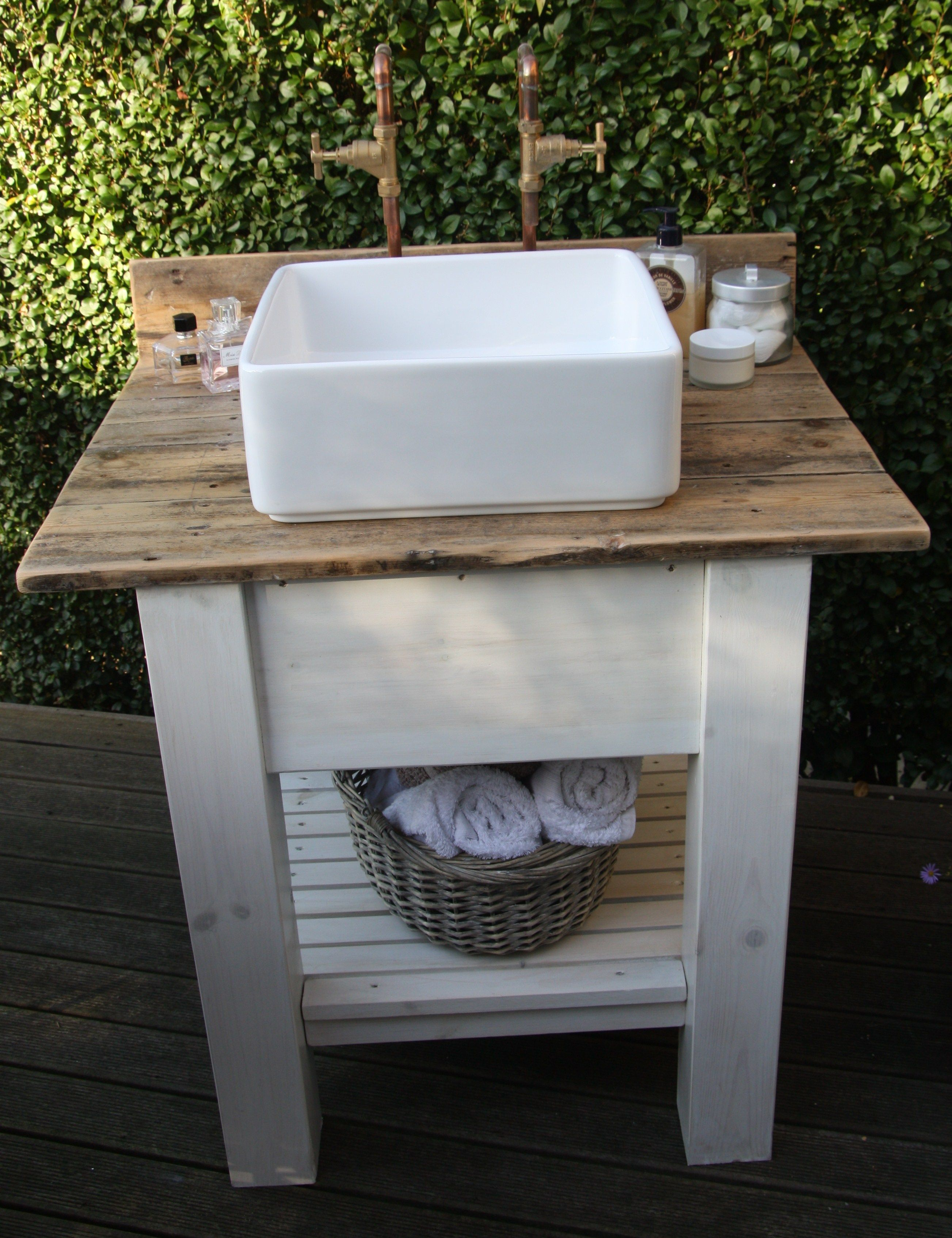 Upcycled worktop, chunky basin and industrial taps.  Funky bathroom unit made by The LRC!