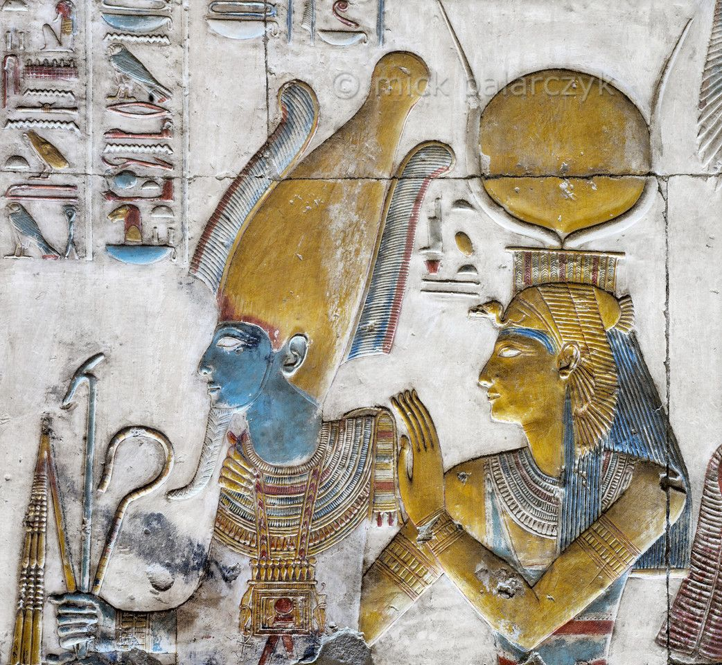 Egypt uUraeuses decorating a shrine at Abydosu Ancient egypt