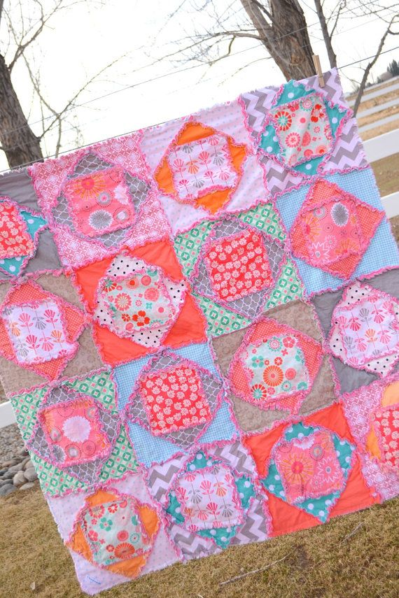 Girl Rag Quilt Hot Pink Turquoise And Orange Squares And