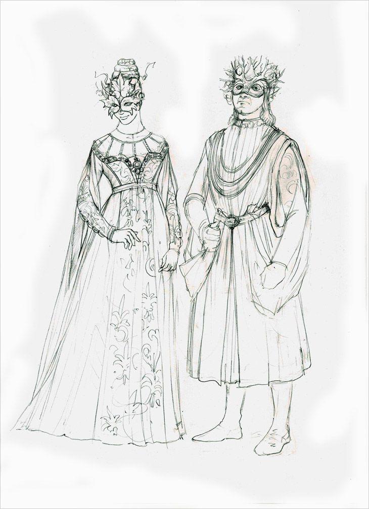 Romeo & Juliet Costume Sketches by Carlo Piggioli