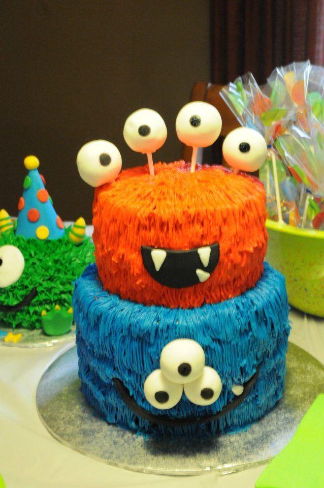 Monster 1st Birthday Cake With Cake Pop Eyeballs Cakes Ive Made