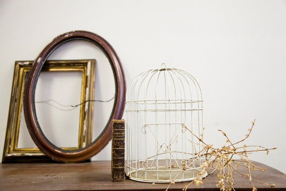 Shabby Chic Metal Birdcage by oldnewhouse on Etsy, $80.00