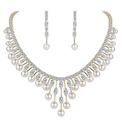 TENYE Zirconia Cream Simulated Pearl 2 Layers Floral Necklace Earrings Bracelet Set Clear Silver-Tone 5pZCC3d9J