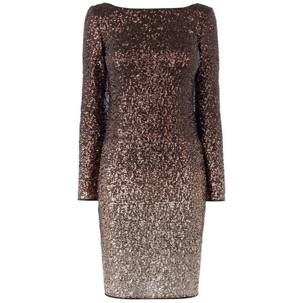 Bronze Long Sleeve Cocktail Dresses