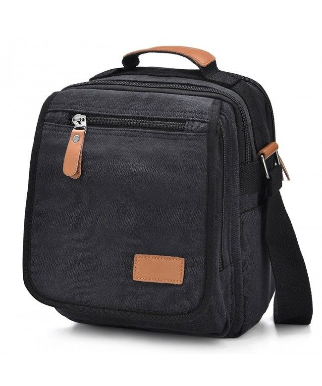 4ffaeddfb5 Mens Canvas Messenger Bag Shoulder Bag Travel Work School Satchel Crossbody  Bag - Black - CR185U7SGRA  Bags  handbags  gifts  Style  Crossbody Bags