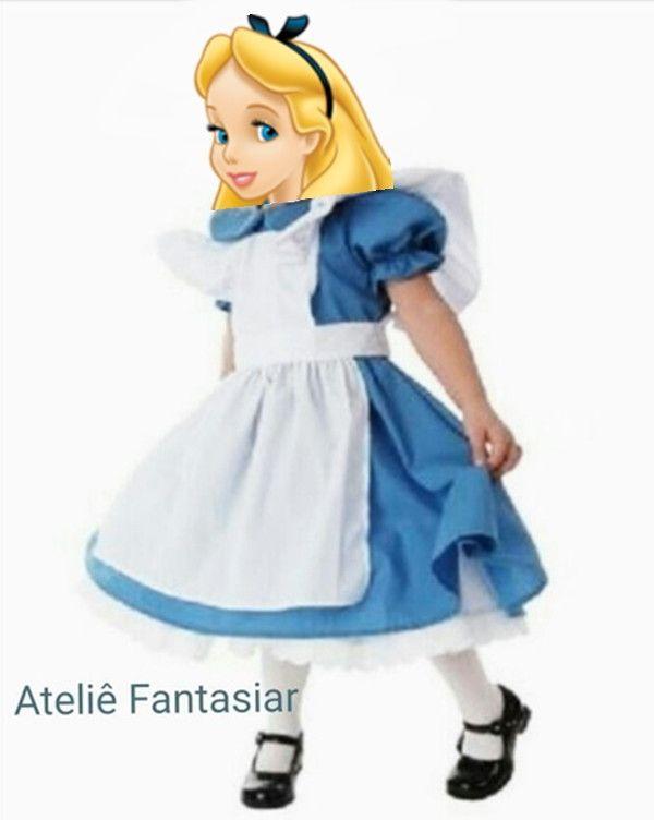 Fantasia Luxo Alice No Pais Das Maravilhas Vem Com Saia Armadora