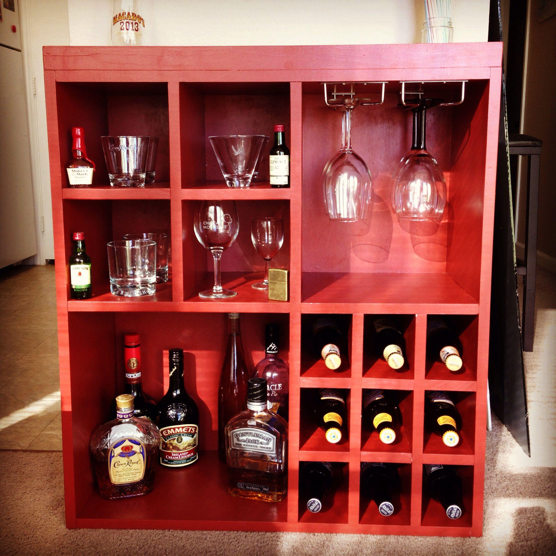 Diy liquor and wine with wine glass rack wine