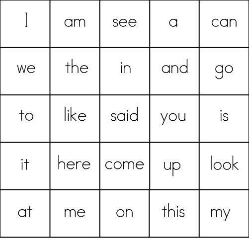 Sight Word Games Bingo Sight Words Kindergarten Word Bingo