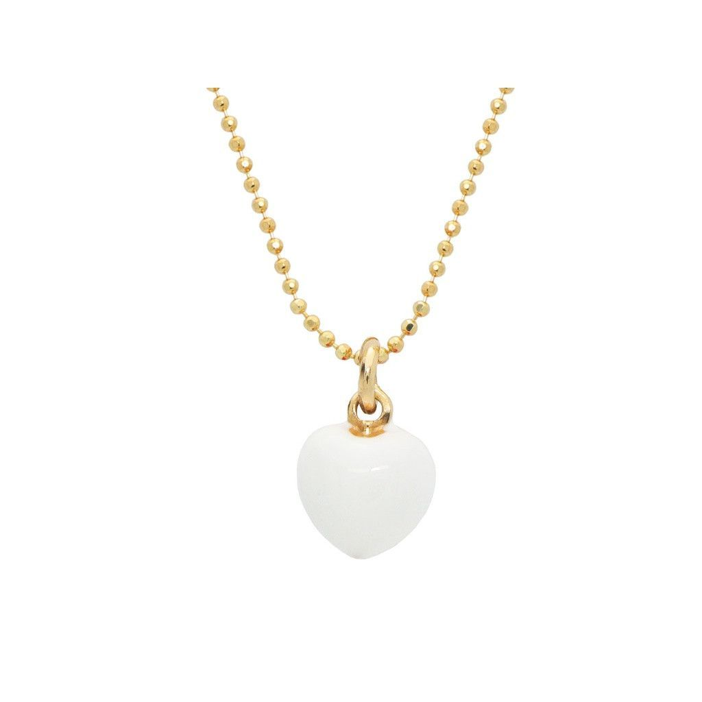 Designer gold plated sterling silver luscious mini white heart