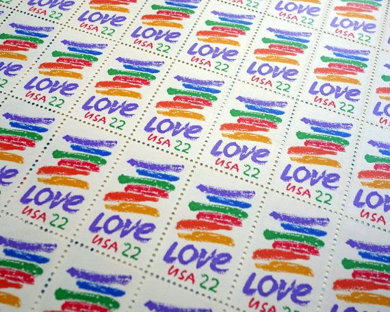 50 pieces 1985 22 cent RAINBOW LOVE Vintage unused by packandpost