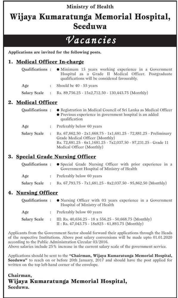 Sri Lankan Government Job Vacancies At Wijaya Kumaratunga Memorial Hospital  For Medical Officer In Charge