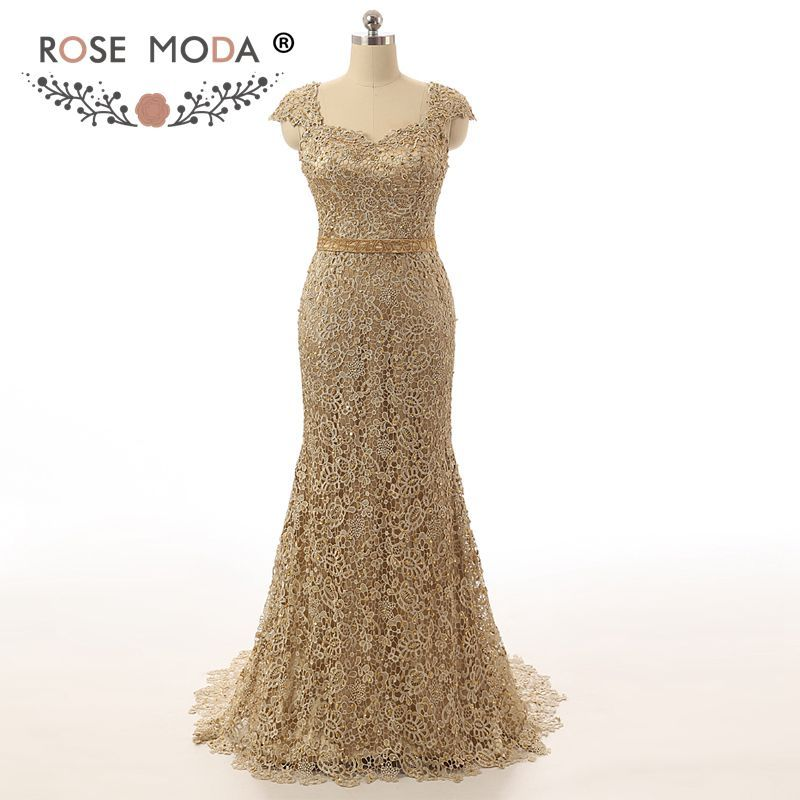 Barato Impressionante mangas ouro Lace sereia mãe do vestido da noiva Keyhole voltar querida ouro faixa frisada Formal vestido MOB vestido, Compro Qualidade Vestidos para a Mãe da Noiva diretamente de fornecedores da China: