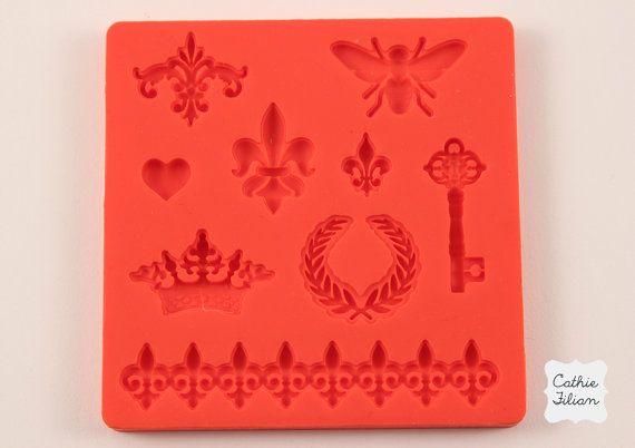 Crown Fleur de lis silicone rubber mold