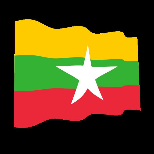 Waving Flag Of Myanmar Myanmar Flag Flag Myanmar