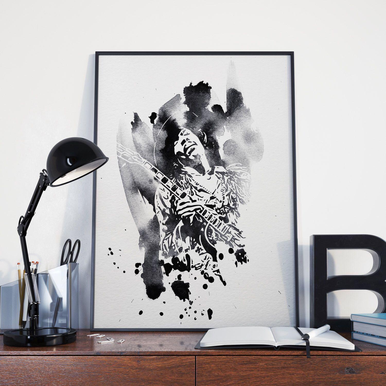 Jimi Hendrix Minimalist Watercolor BLACK And White Art Poster Print 2 Wall Decor By