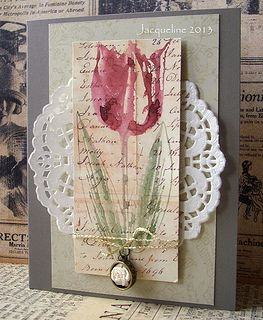 Large Tulip Etching Tulips Card Card Art Flower Cards