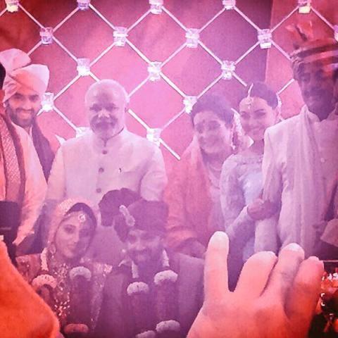 Narendra modi pics  on Shatrughan Sinha's son   wedding