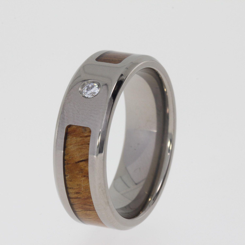 Hawaiian koa wood titanium ring set with mm by jewelrybyjohan