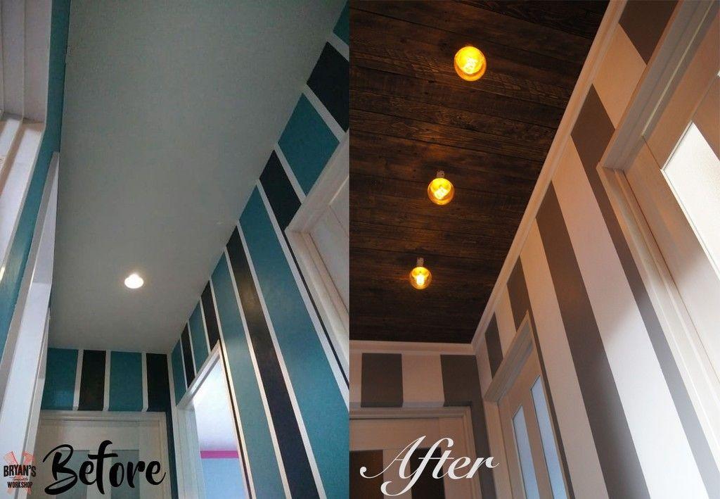 壁紙をストライプに塗りなおし と天井diy 天井 Diy 廊下の壁紙 天井