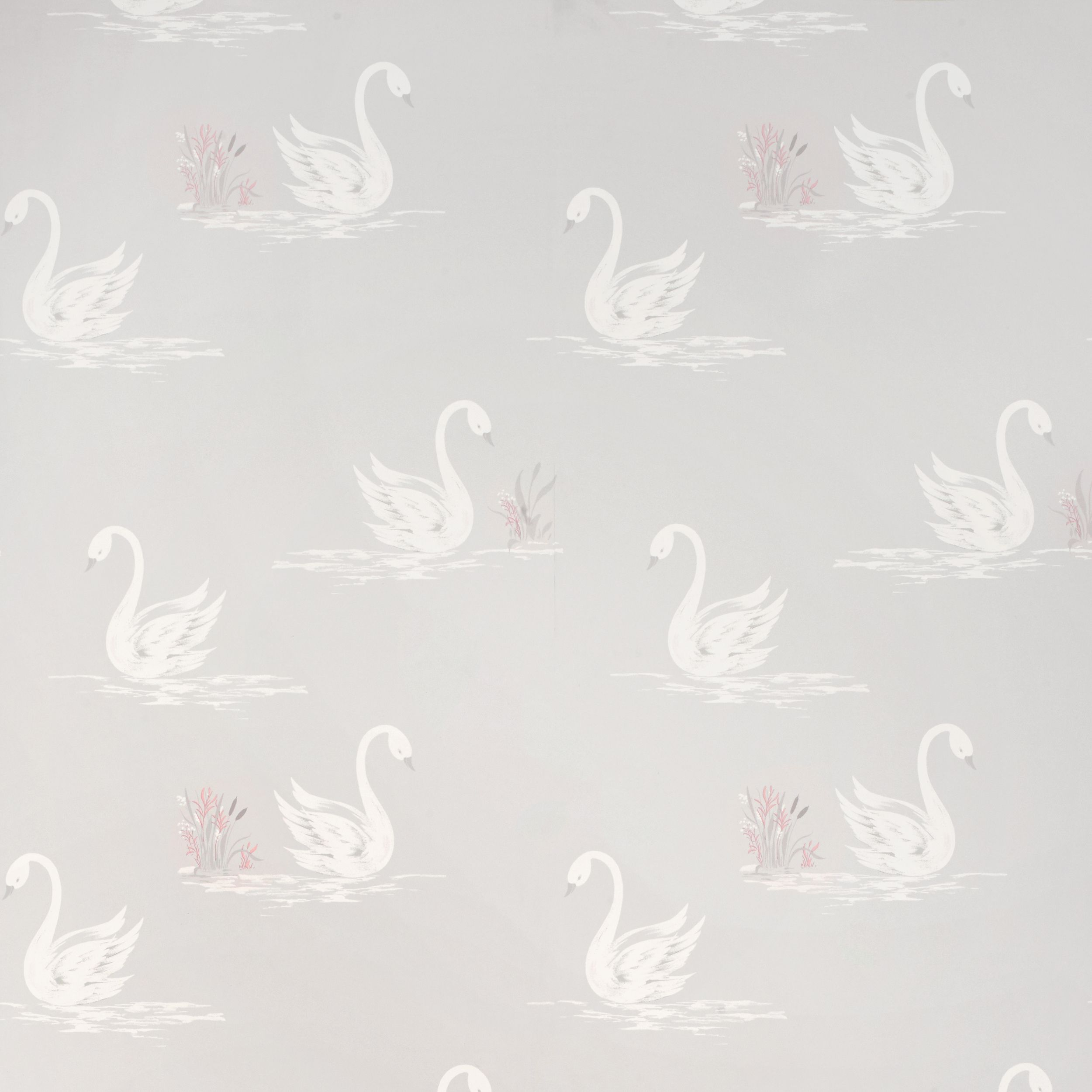 Laura Ashley Swans Silver Wallpaper