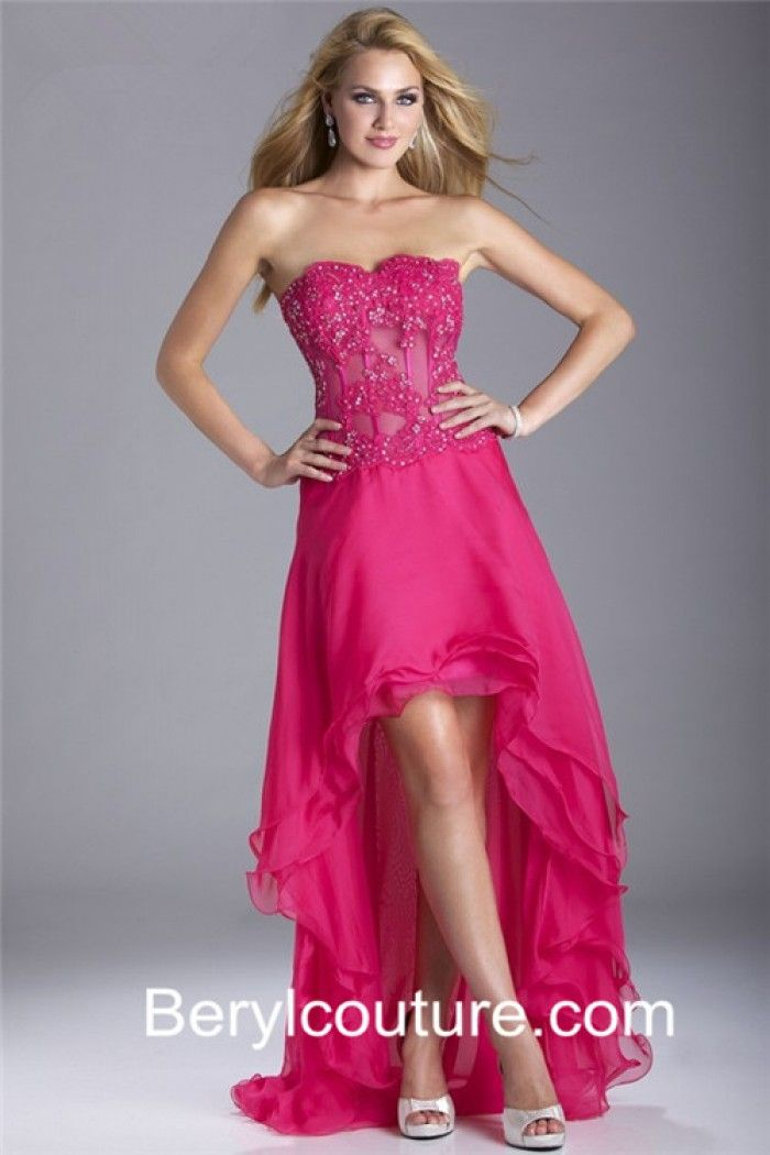 Fashion High Low Strapless Hot Pink Chiffon Lace Beaded Party Prom ...