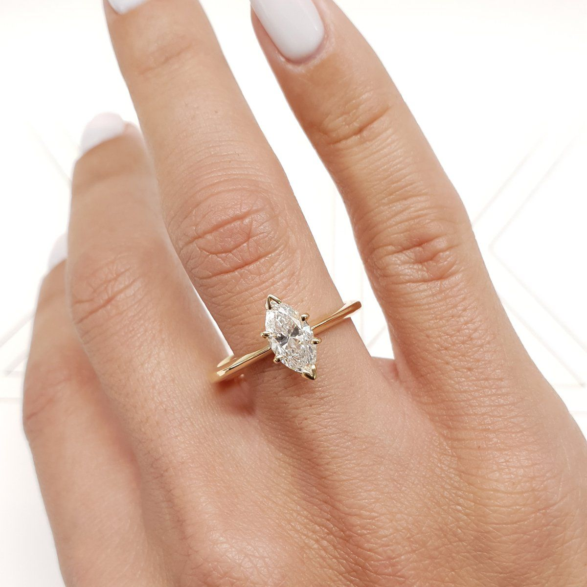 Rose Gold Engagement Ring Rose Gold Wedding Band Rose Gold Ring 1 ct Marquise Cut Solitaire Engagement Wedding Ring Solid 14k Rose Gold