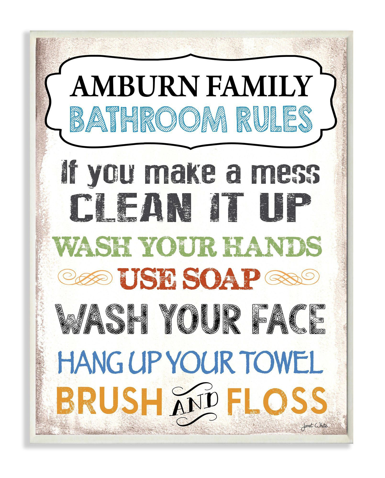 Personalized Bathroom Rules Rainbow By Janet White Textual Art Plaque Bathroom Rules Personalized Wall Plaques Personalized Bathroom