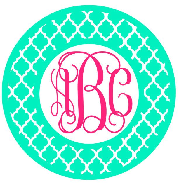 Quatrefoil Round Monogram - Round Decal - Yeti Decal - Laptop Decal - Car Decal - Monogram Decal - Round Monogram by GlitterGlamMonograms on Etsy