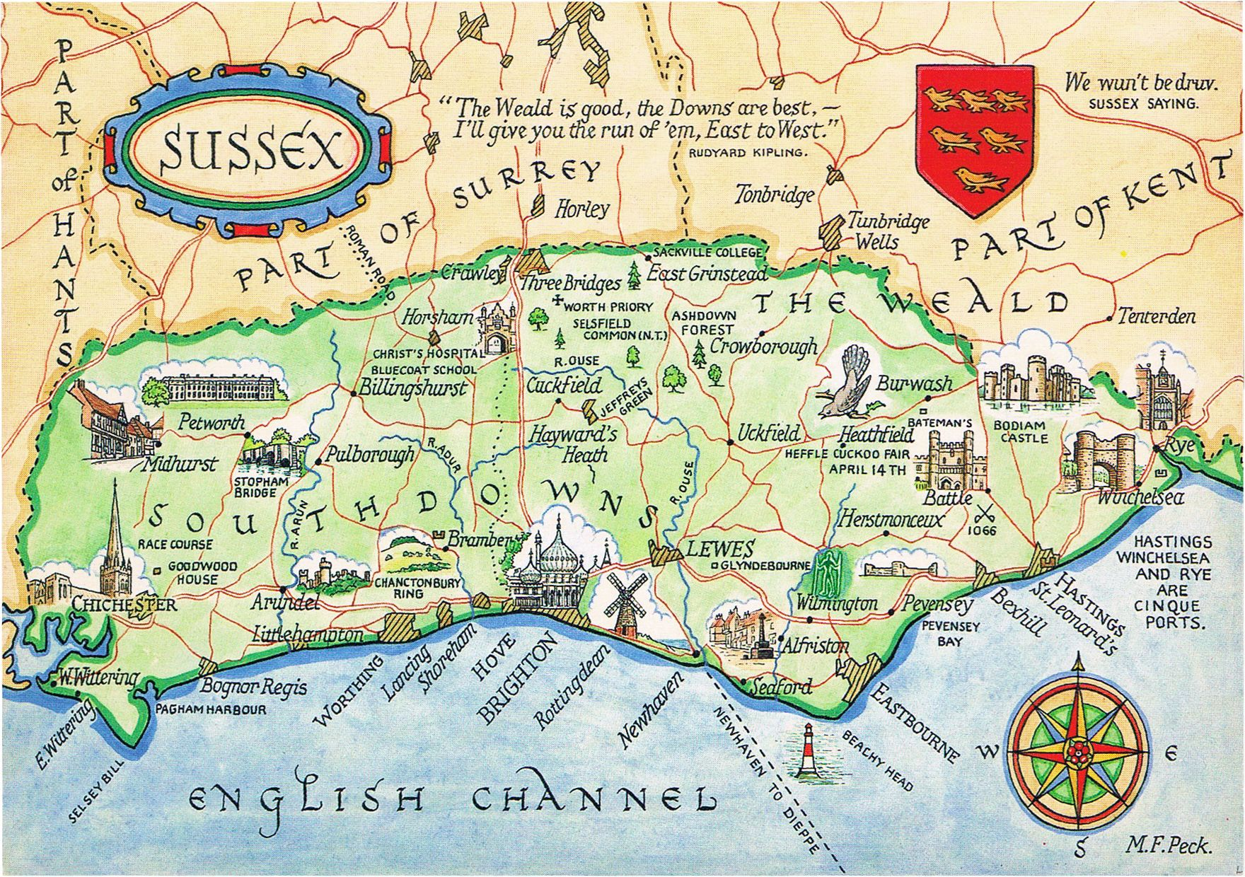 Map Of Sussex Sussex Map Map Illustrated Map