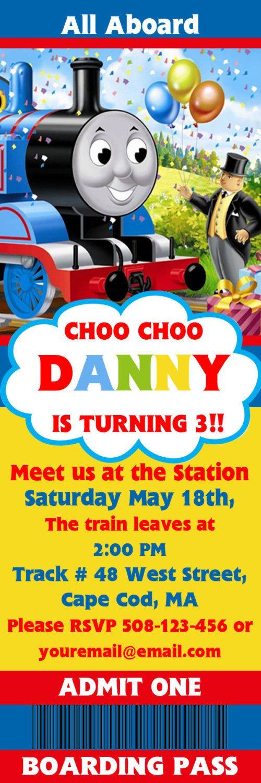 Thomas the Tank Train Engine Ticket/ Boarding Pass Invitations ...