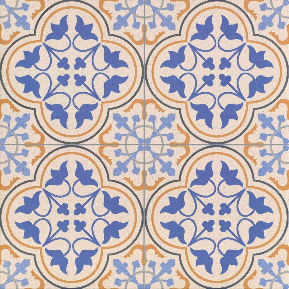Carrelage Style Ancien Bleu Escocia Deco 44x44 Cm 1 37m Tile