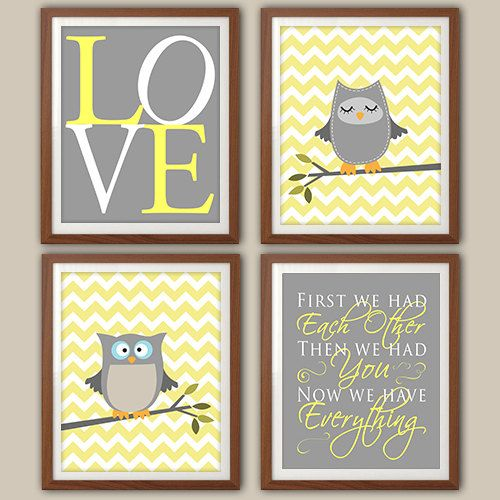 Nursery Art Print Chevron Owl Quote Decor Gray And Yellow Set Of Four Prints On Etsy 30 00
