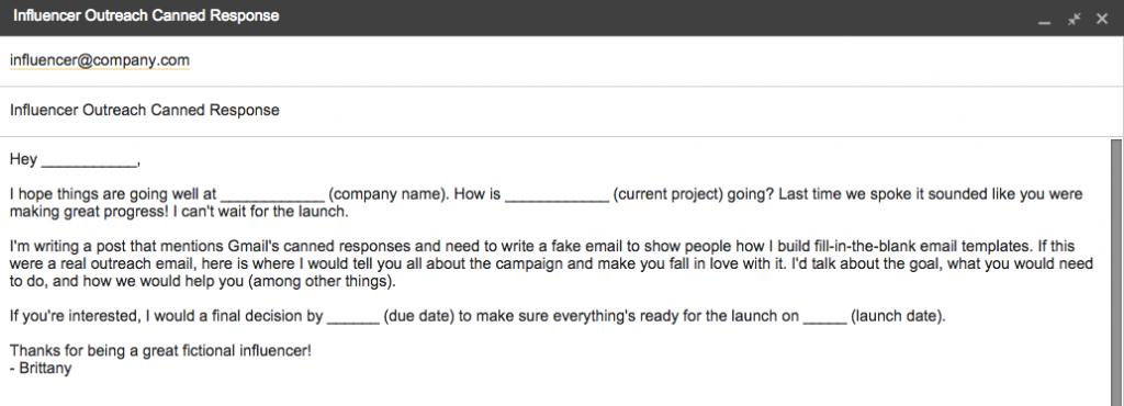 gmail-canned-response-email-template | BLOGGER OUTREACH | Pinterest