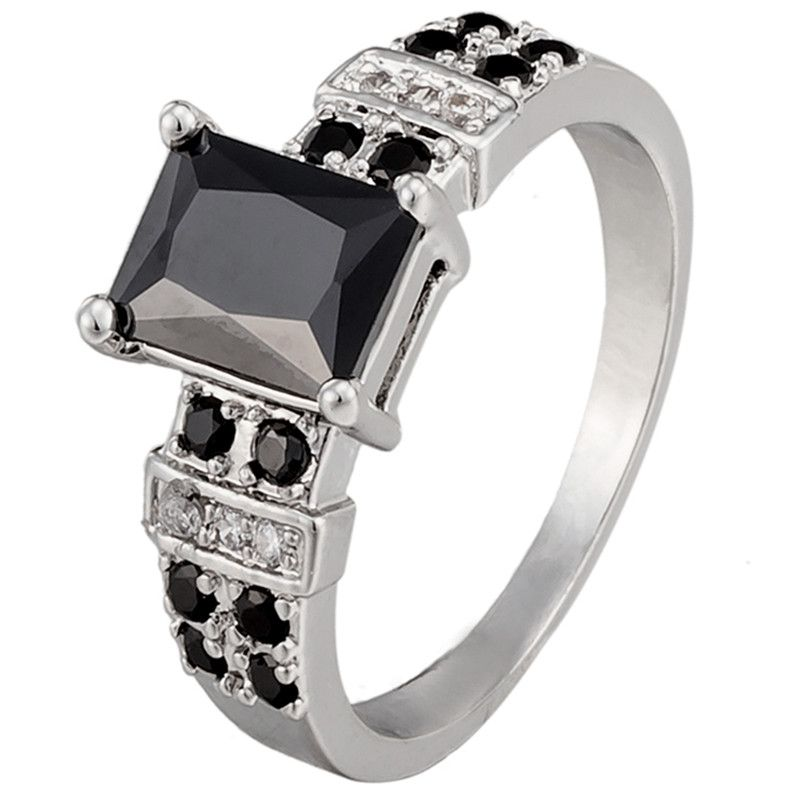 Luxury Design Black Blue Zircon Rings For Women Men Bridal Party