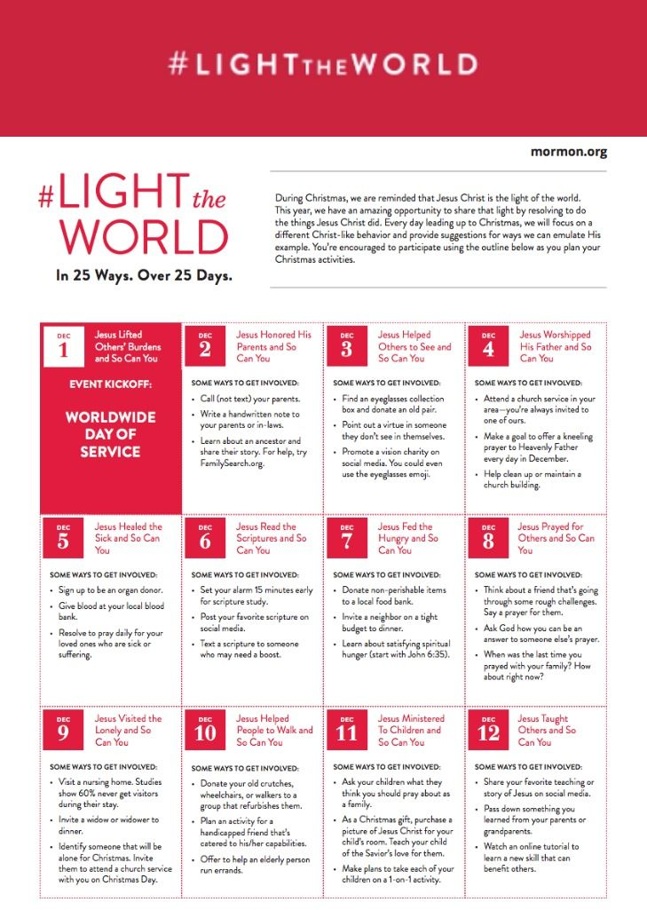 Light The World Day Of Service And Calendar Lds Light The World