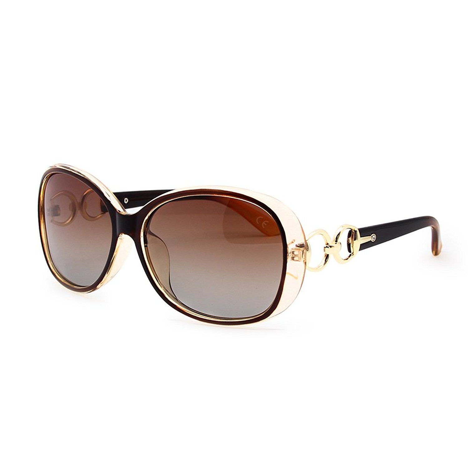 d63bef1af Duco Women's Shades Classic Oversized Polarized Sunglasses 100% UV  Protection 6214 Brown Frame Brown Lens: Amazon.co.uk: Cloth…