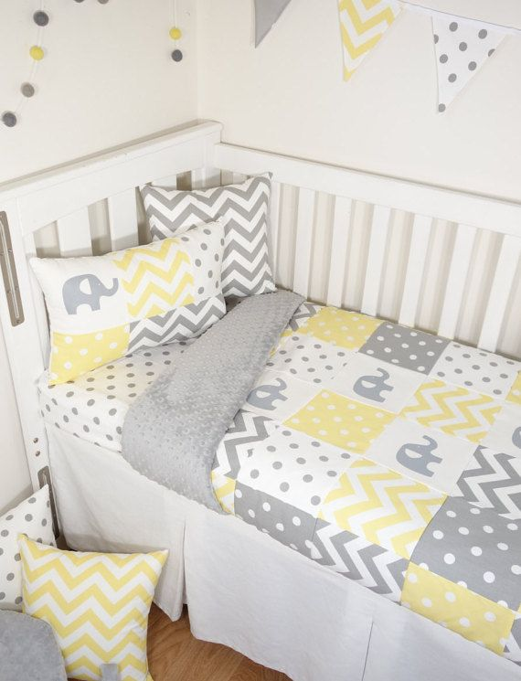 Patchwork nursery set - Yellow and grey elephants (Grey minky quilt ...