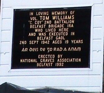 A Plaque over 46 Bombay Street - where Tom Williams lived with his grandmother.
