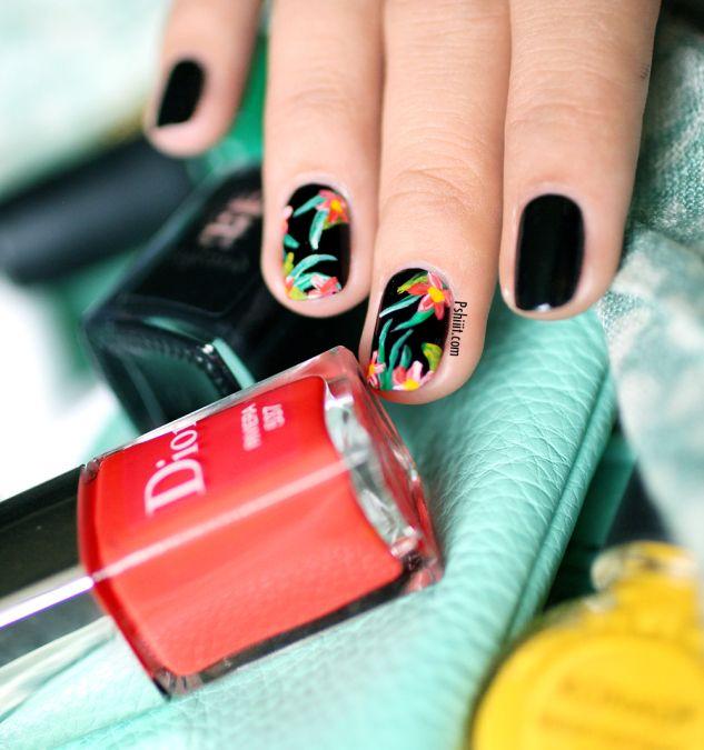 Nail art Tropical | Black nails, Make up and Nail nail