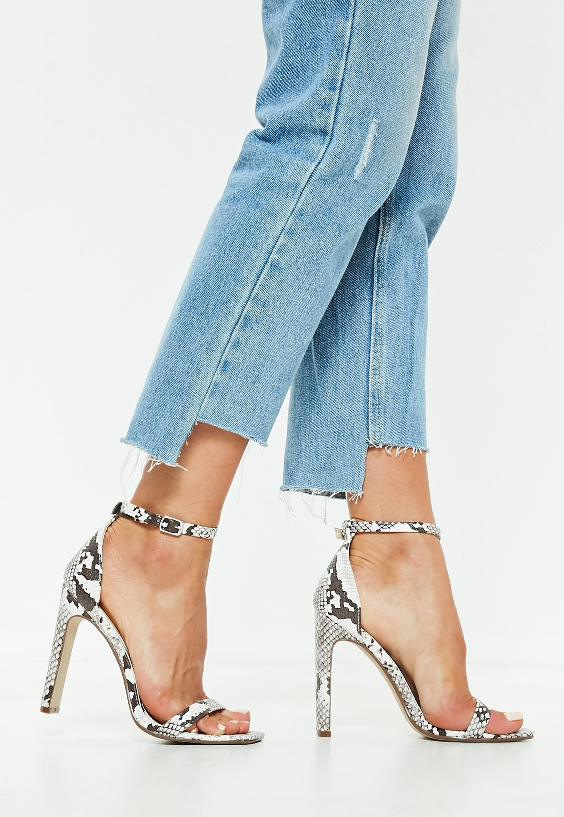 6e261e059ae2 Nude Snake Print Illusion Barely There Heels | Missguided ...