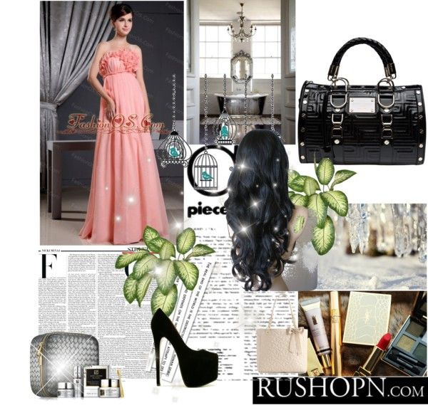 """""""Watermelon Elegant Prom Dress With Hand Made Flowers"""" by fancydressesforyou on Polyvore"""