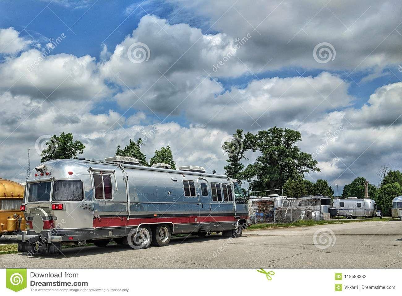 Airstream Travel Trailer Caravans In Parking Lot Editorial