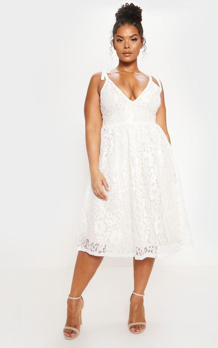 White Lace Strappy Plunge Midi Dress Dresses For Apple Shape Lace White Dress Plunge Midi Dress [ 1180 x 740 Pixel ]