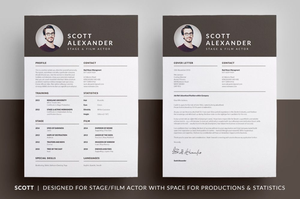 Film Actor Resume Template Acting Resume Template PSD - indesign resume templates