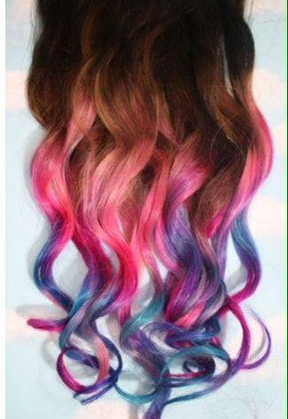 Arcoiris Californiano Mechas De Colores Pelo De Color Rosa Pastel Teñido Del Cabello