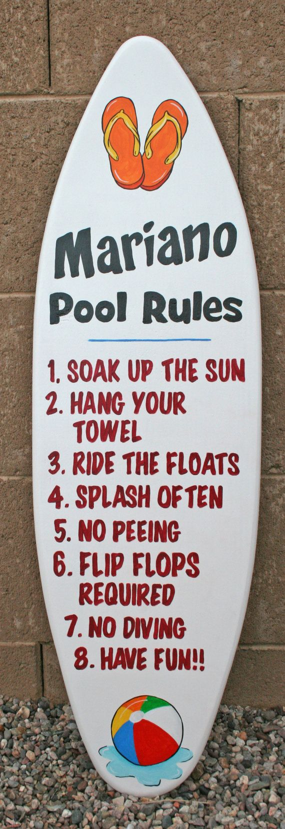 Swimming Pool Plaques Signs Wall Decor Mini Surfboard Wall Art Pool Rules Sign Custom Personalized